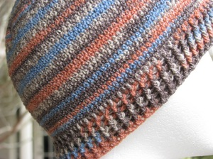Single crochet gives nice results with sock yarn striping.